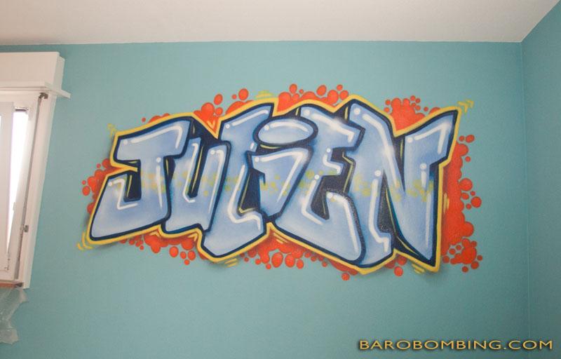 julien pr nom en graff chambre graffiti. Black Bedroom Furniture Sets. Home Design Ideas
