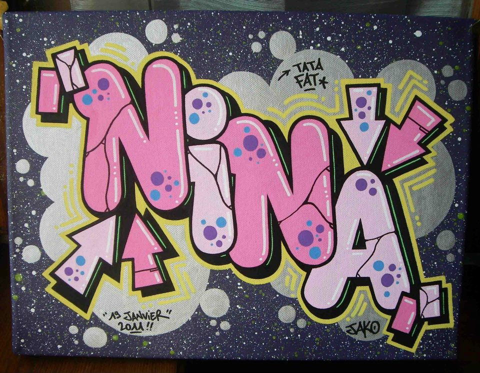 Nina chambre graffiti - Prenom en tag ...