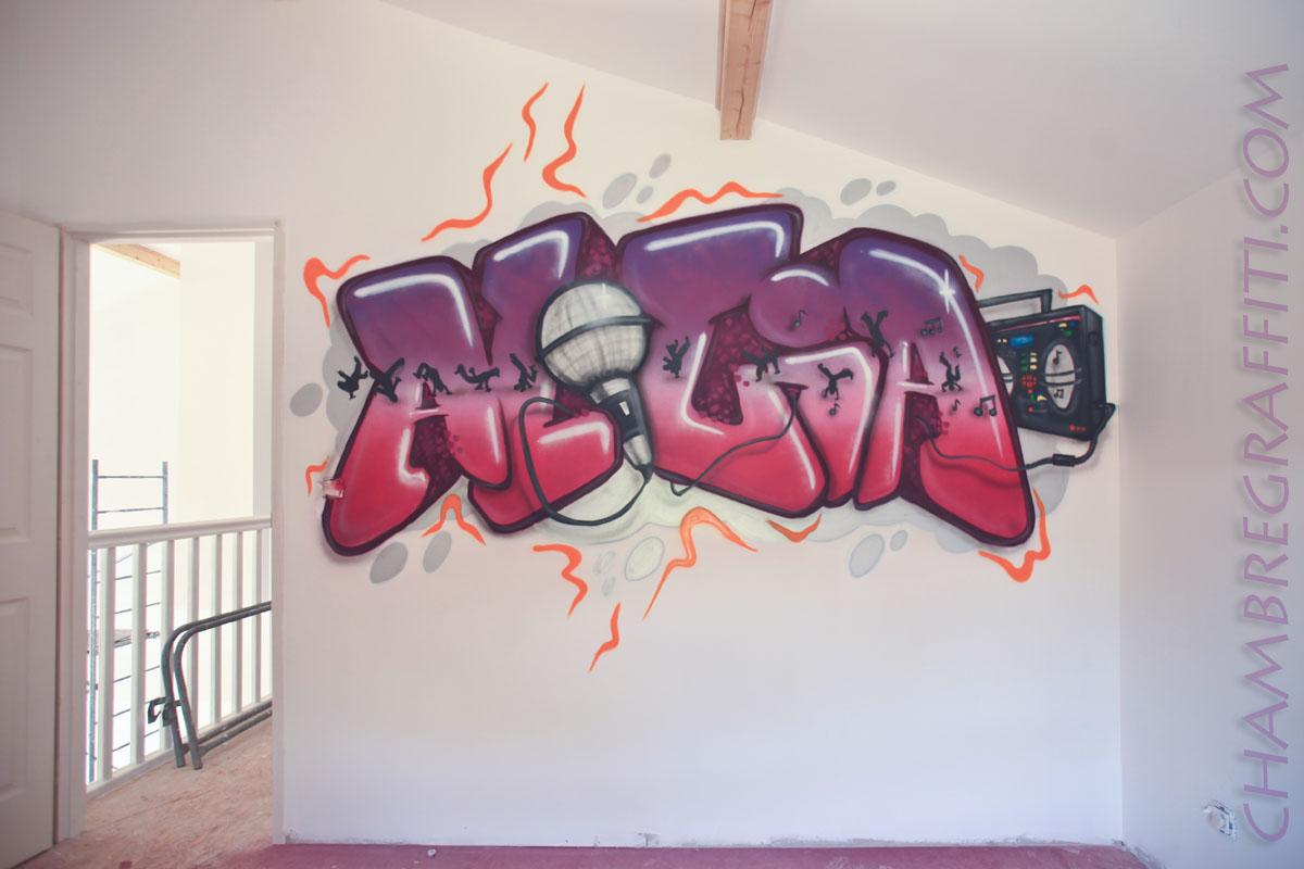 chambre d 39 alicia chambre graffiti. Black Bedroom Furniture Sets. Home Design Ideas