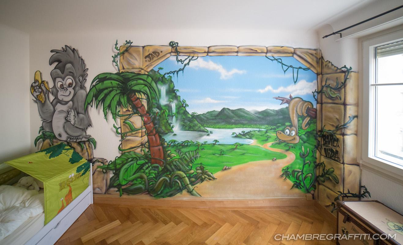 Deco Jungle Chambre Enfant chambre deco graffiti jungle