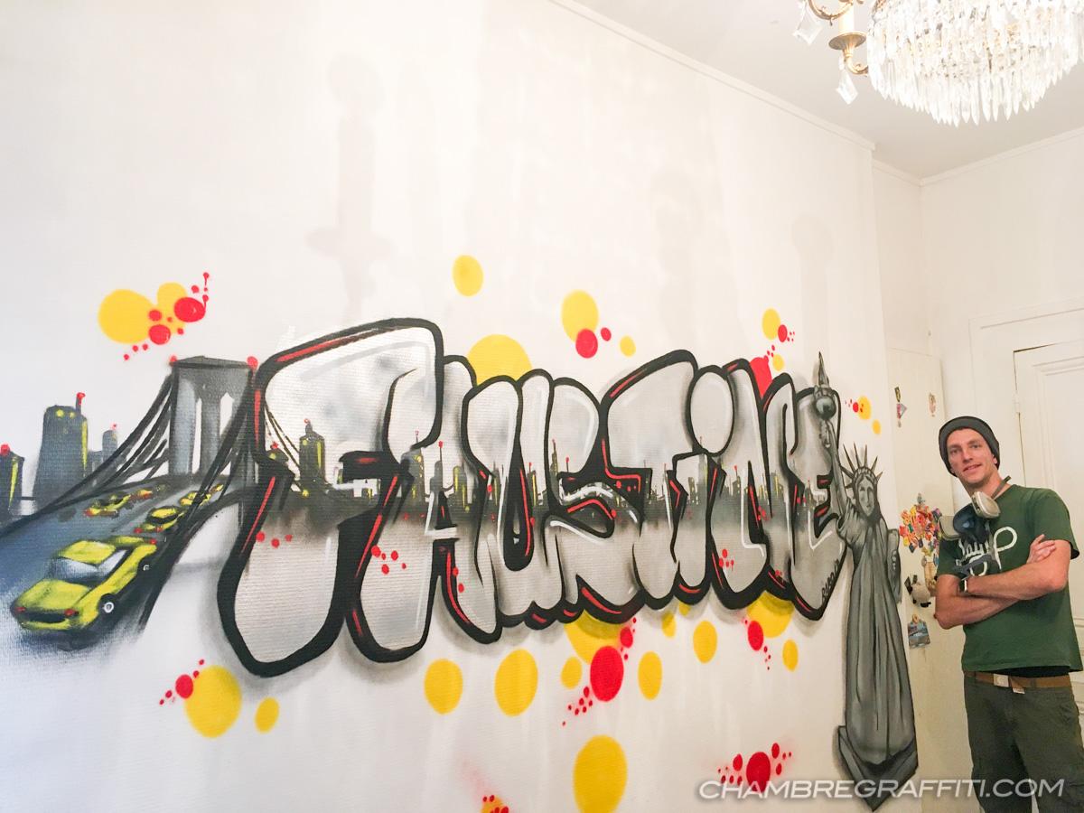 Chambre Sur Le Thème De New York prénom faustine en graffiti sur le thème de new york à lyon