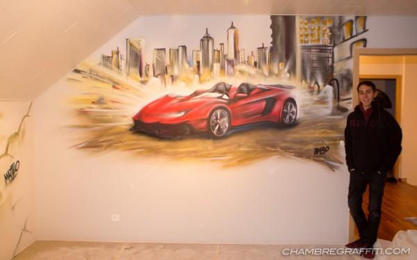 Chambre-Lamborghini-graff-voiture