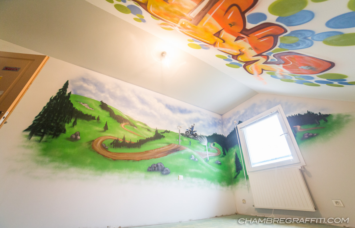 Chambre Enfant Matteo Deco Graffiti Motocross Quad Pictures