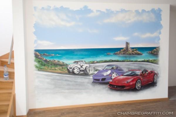 Chambre-graffiti-Ferrari-porsche-hummer-valais-suisse