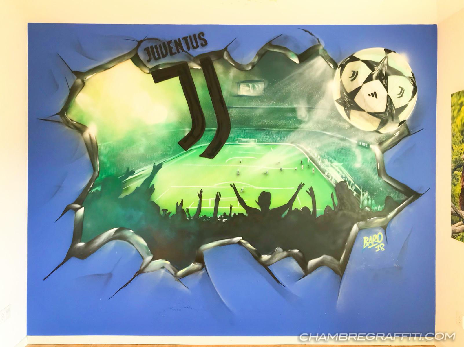 Chambre Juventus Mur cassé en trompe-loeil avec le ballon de foot