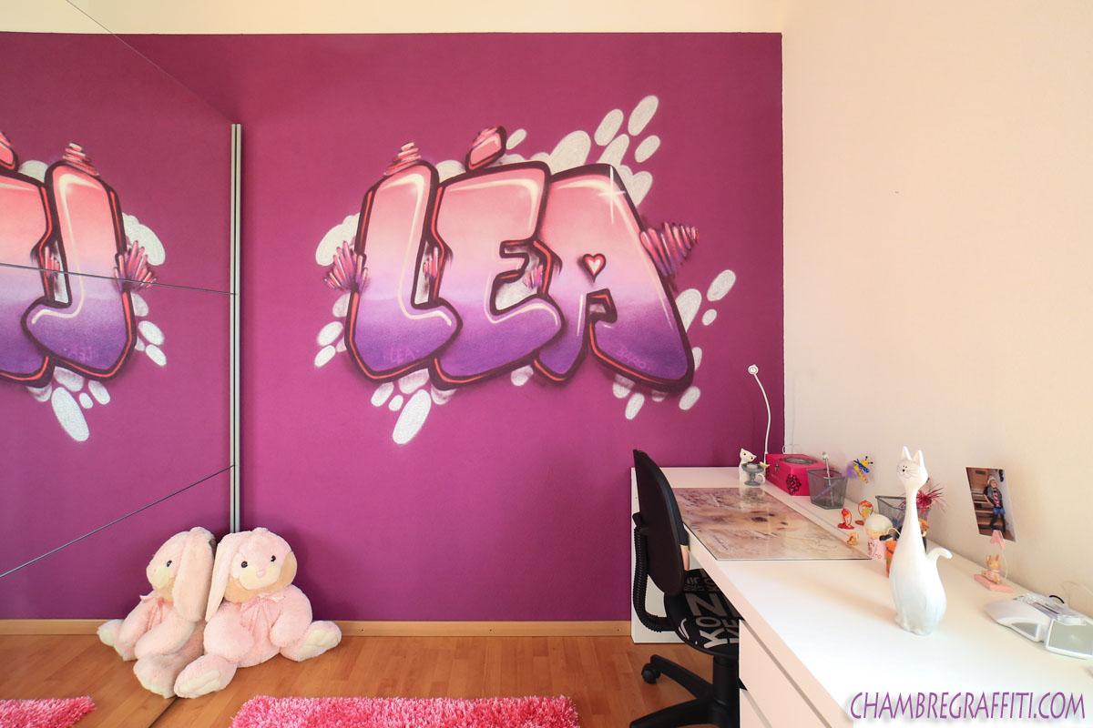 Chambre D?co Graffiti  Pr?nom en graff et Trompe loeil au spray ~ Graff Chambre Fille