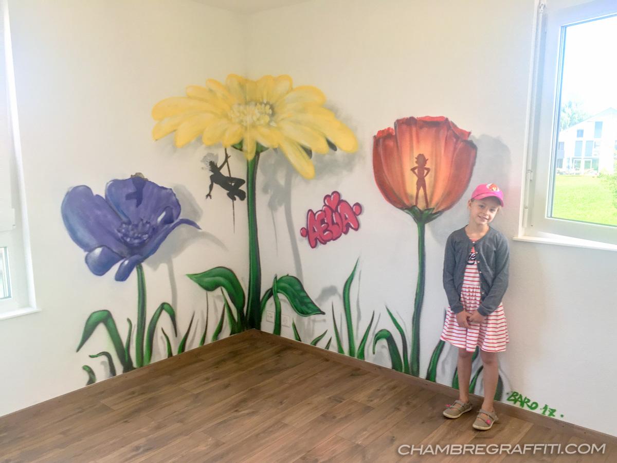 D coration des murs de la chambre de aelia sur le th me des mini moys chamb - Decoration mur chambre ...