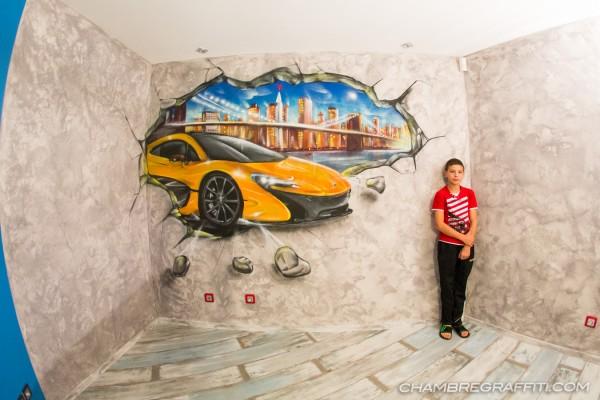 Graffiti-voiture-mclaren-NewYork-Chambre
