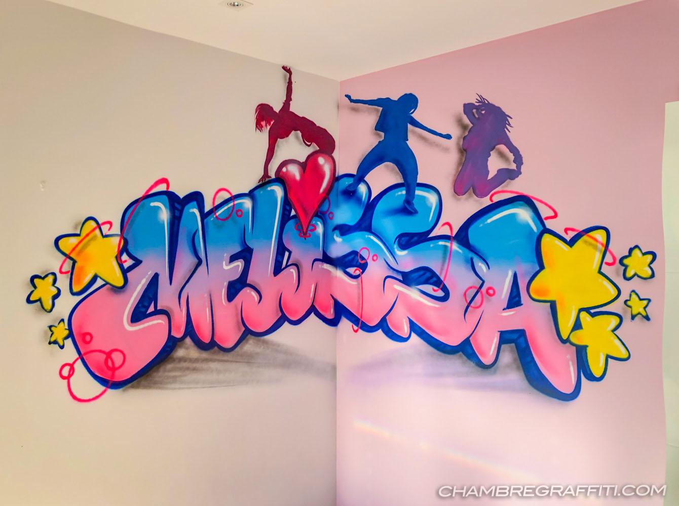 Chambre graffiti de Melissa avec des danseuses Hip-hop sur son