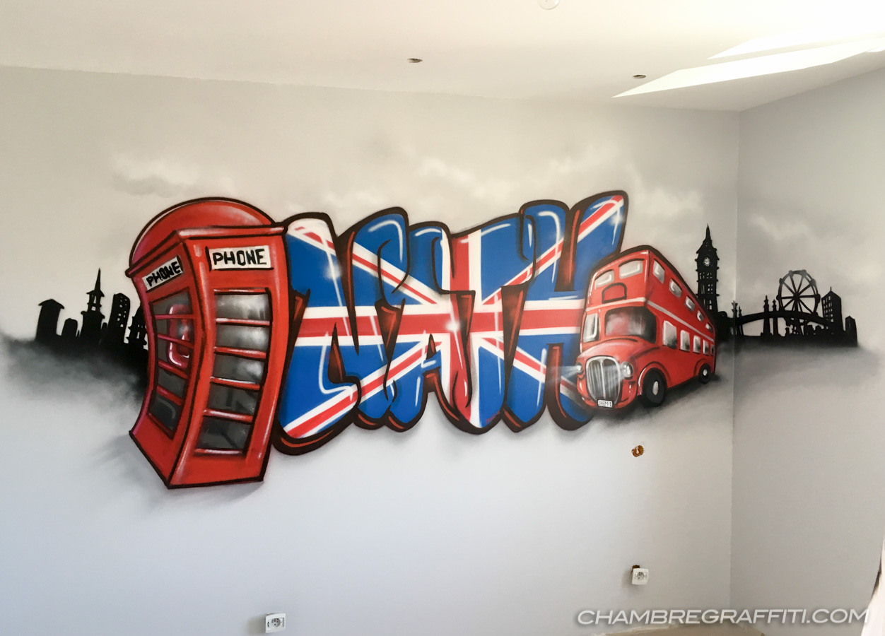 Idee Deco Chambre Londres prénom graffiti nath sur le thème de londres pour la chambre