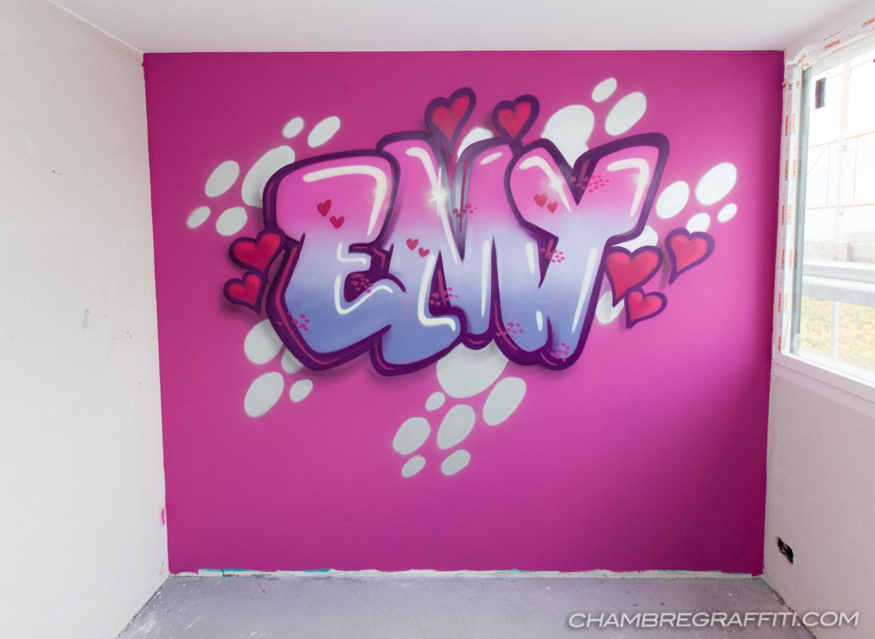 chambre d co graffiti pr nom en graff et trompe l 39 oeil au spray d coration de la chambre. Black Bedroom Furniture Sets. Home Design Ideas