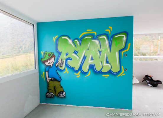 Prenom-Ryan-Graffiti-vert-bleu-graffeur