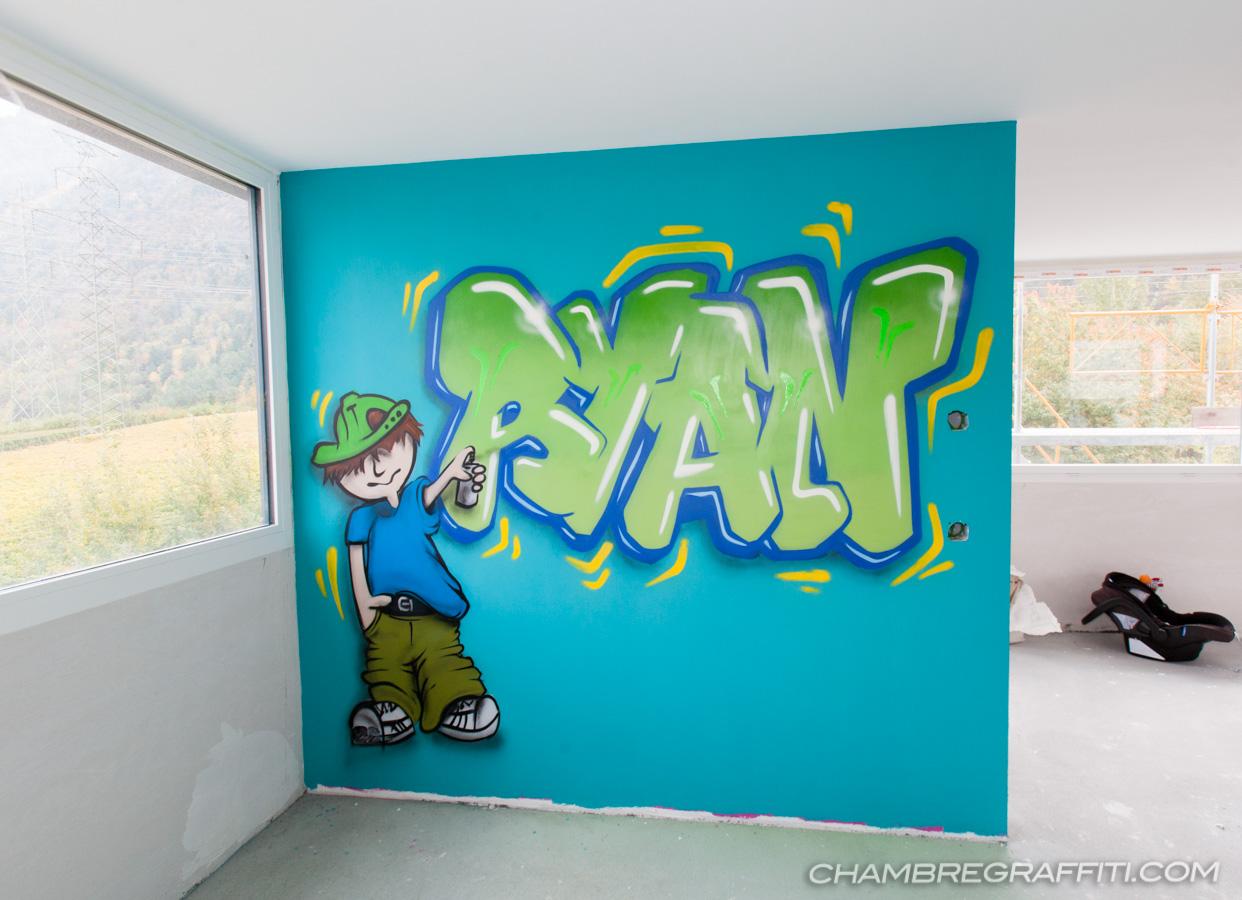 Chambre déco graffiti   prénom en graff et trompe l\'oeil au spray ...