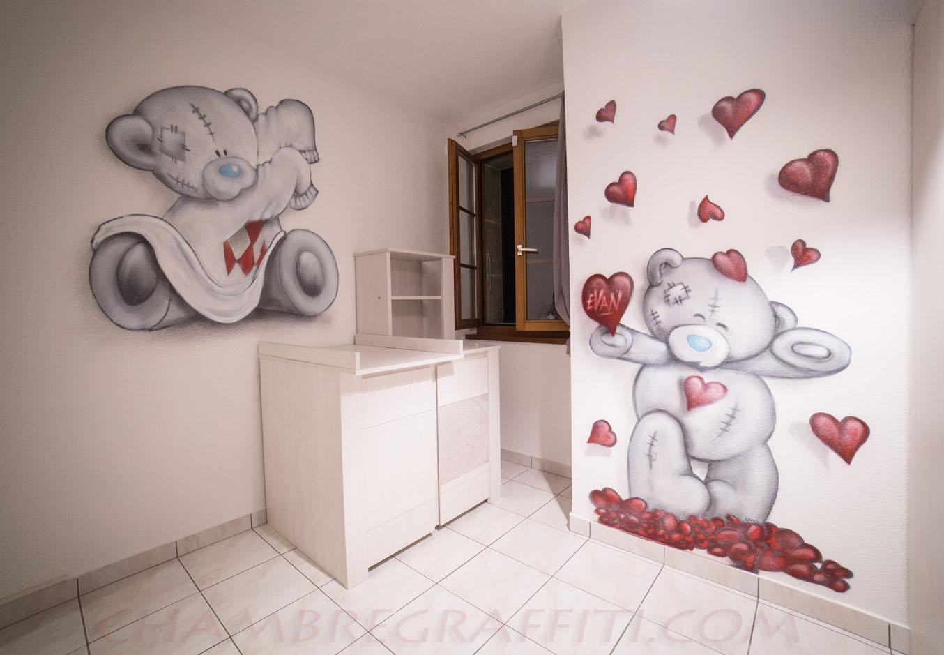 Ourson chambre b b evan chambre graffiti - Idee de deco chambre bebe garcon ...